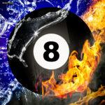 Billard Kugel, schwarze Acht, Feuer und Eis