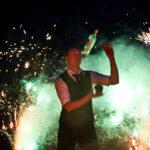 Imagefotos Pyrotechnik Showbarkeeper mit Feuer