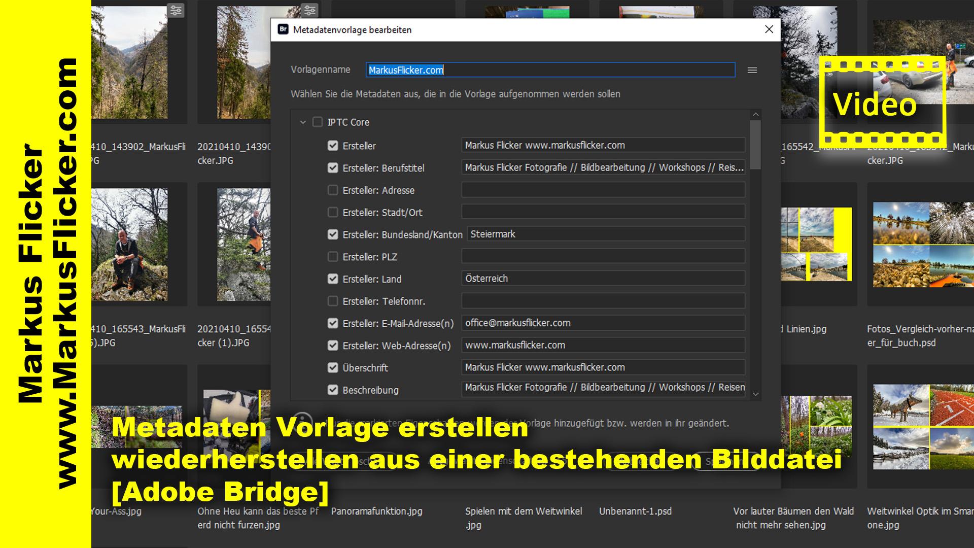 Metadaten Vorlage erstellen / wiederherstellen aus einer bestehenden Bilddatei [Adobe Bridge]