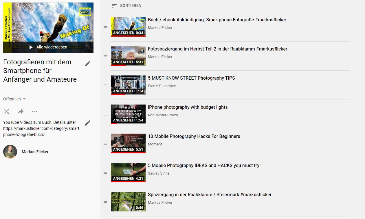 YouTube Video Playlist Fotografieren mit dem Smartphone für Anfänger und Amateure